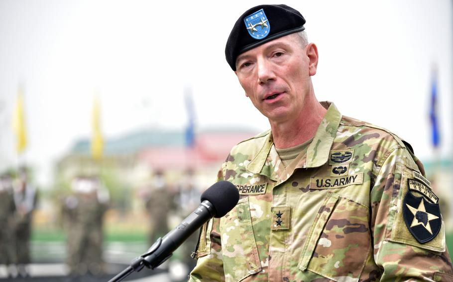 Maj. Gen. David Lesperance took charge of the Army's only permanently deployed division outside 2nd Infantry Division headquarters at Camp Humphreys, South Korea, Tuesday, May 18, 2021.