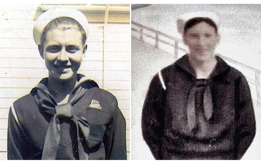 World War II Navy veterans Floyd Helton, left, and Stanley Owsley.