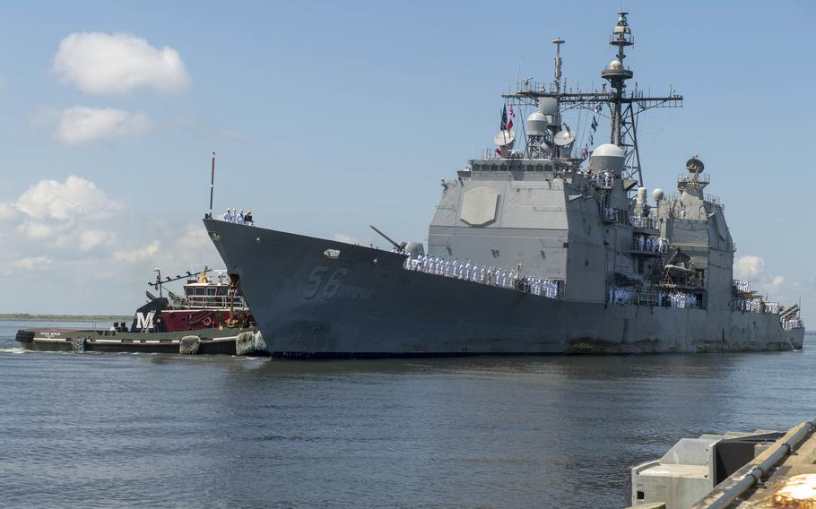 The Ticonderoga-class guided-missile cruiser USS San Jacinto (CG 56) returns to Naval Station Norfolk on Aug. 9, 2020, after a regularly scheduled deployment in support of maritime security operations and theater security cooperation efforts in U.S. 5th and 6th Fleet.