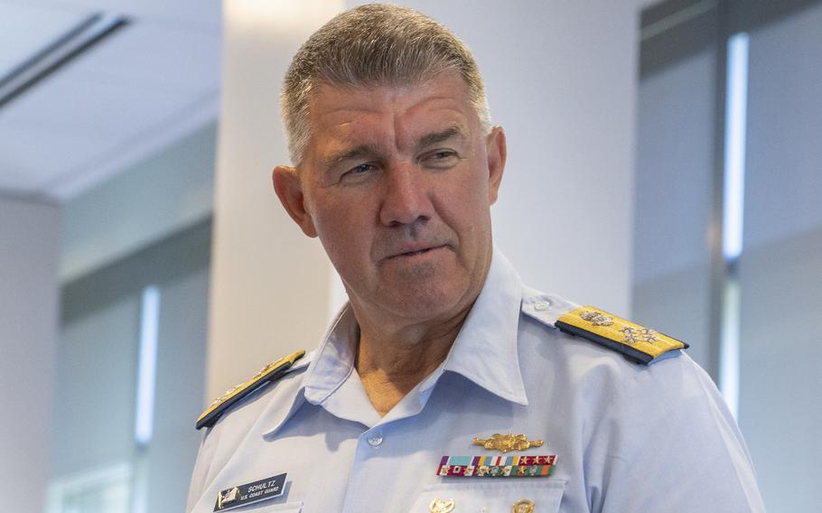 Adm. Karl L. Schultz, the commandant of the Coast Guard, as seen at Coast Guard Headquarters in Washington, D.C., on June 17, 2021.