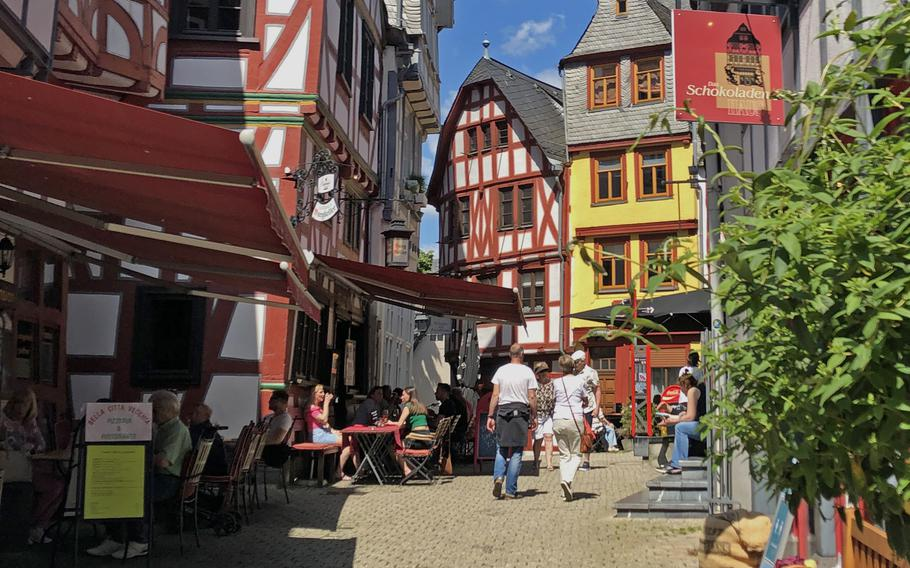 Restaurants and shops open up again to customers in Limburg an der Lahn, Germany, on May 30, 2021. Coronavirus restrictions have eased in much of the country as incidence rates have fallen in recent weeks.