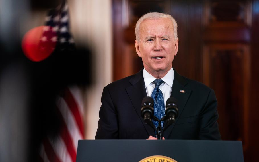 President Biden delivers remarks regarding on the Middle East in the Cross Hall of the White House on May 20, 2021.