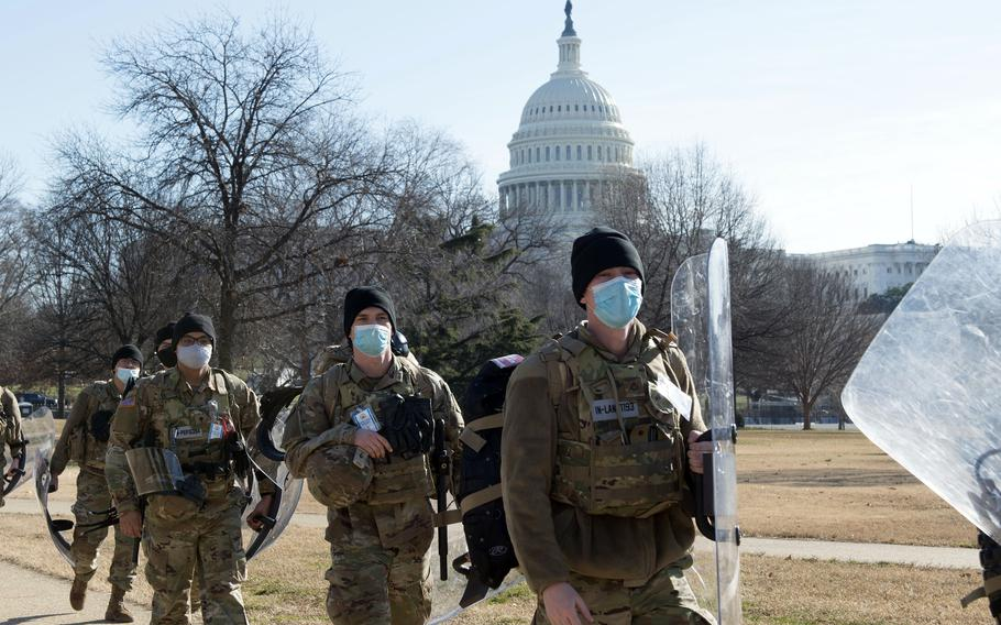 Soldiers with the Indiana National Guard provide security near the U.S. Capitol in Washington, Jan. 21, 2021.