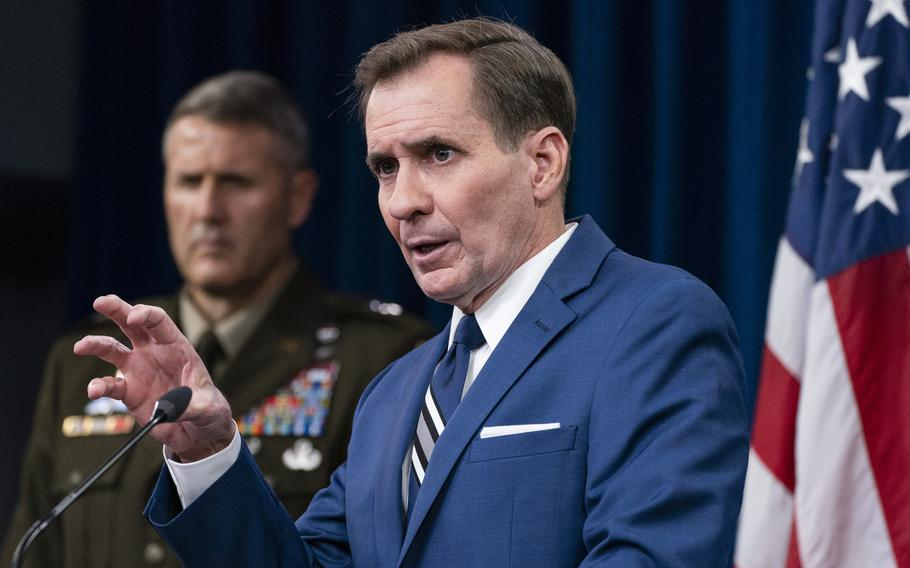 Pentagon spokesman John Kirby with U.S. Army Maj. Gen. William Taylor, Joint Staff Operations, speaks about the situation in Afghanistan during a briefing at the Pentagon in Washington, Tuesday, Aug. 24, 2021.