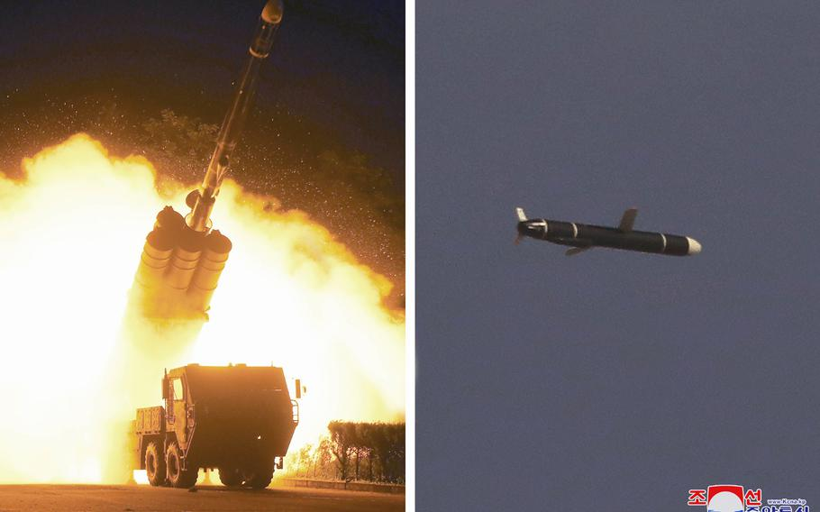 This combination of photos provided by the North Korean government on Monday, Sept. 13, 2021, shows long-range cruise missiles tests held on Sept. 11 -12, 2021 in an undisclosed location of North Korea.