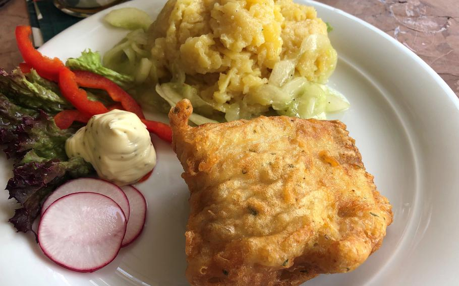 The lunch menu at Weinstube-Killesberg also sometimes offers specials not on the regular menu, such as this fried fish dish served with potato salad.