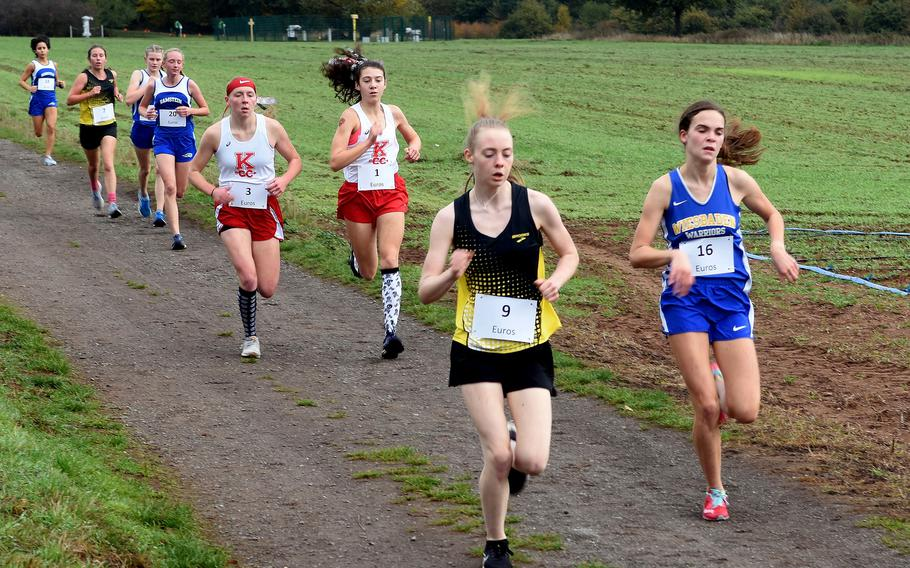 Runners race through the German countryside at the 2020 DODEA Europe non-virtual cross country championship in Ramstein-Miesenbach, Germany.