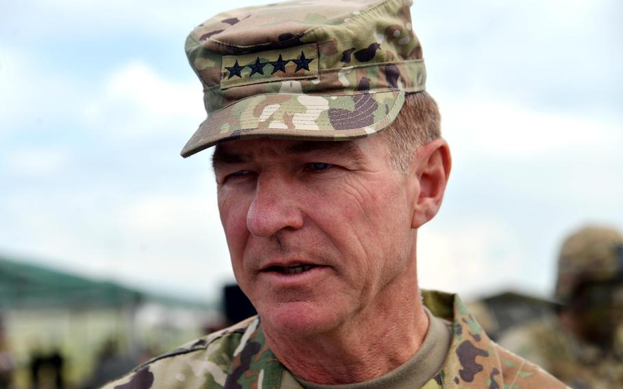 Then-Army Vice Chief of Staff Gen. James C. McConville talks to Stars and Stripes following a live-fire demonstration in Cincu, Romania, in 2017. Now the chief of staff, McConville is in Germany this week for talks with allied ground commanders from across Europe.