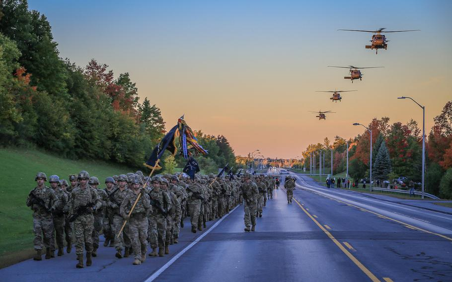 Current and former members of 2nd Battalion, 14th Infantry Regiment, 2nd Brigade Combat Team, 10th Mountain Division gather at Fort Drum, N.Y., in October 2018 to commemorate the participation of the 10th Mountain Division in the Battle of Mogadishu. The Army announced on Friday, July 2, 2021, that 60 soldiers who fought in the battle will receive upgraded awards.