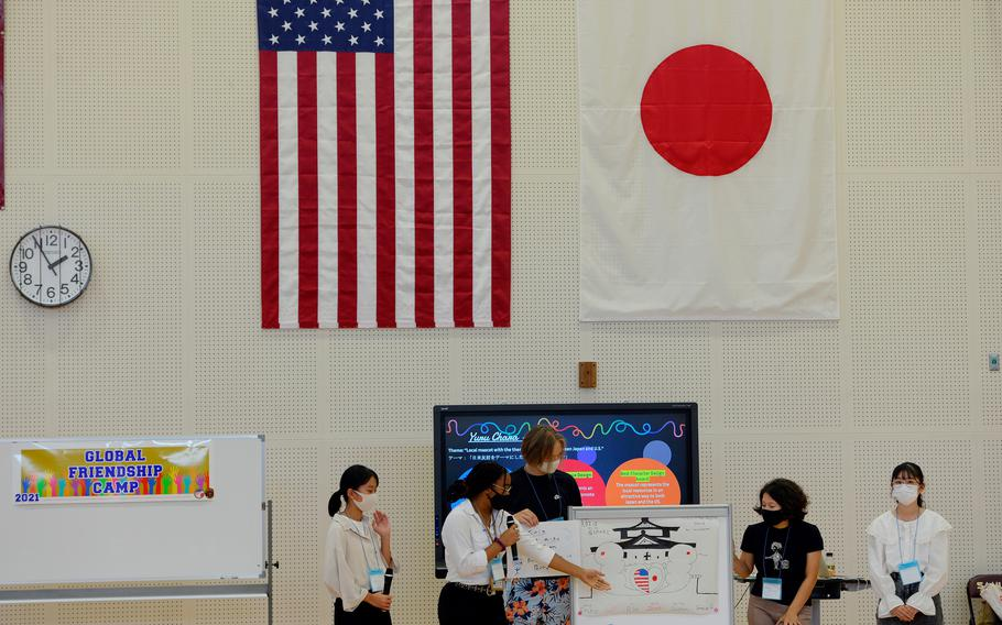 American and Japanese students present their project during a cultural-exchange camp at Matthew C. Perry High School on Marine Corps Air Station Iwakuni, Japan, Sunday, Oct. 3, 2021.