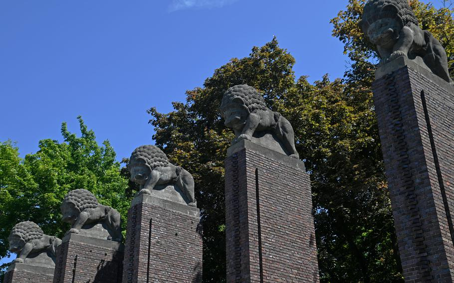 The Loewentor, or Lions Gate, the entrance to Rosenhoehe Park in Darmstadt, Germany. It was originally built for an artist colonys final exhibit in 1914 and moved to its present place in 1926.
