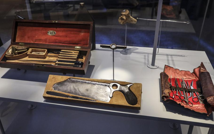 An exhibit of Civil War medical tools at the National Museum of the United States Army on its reopening day, June 14, 2021.