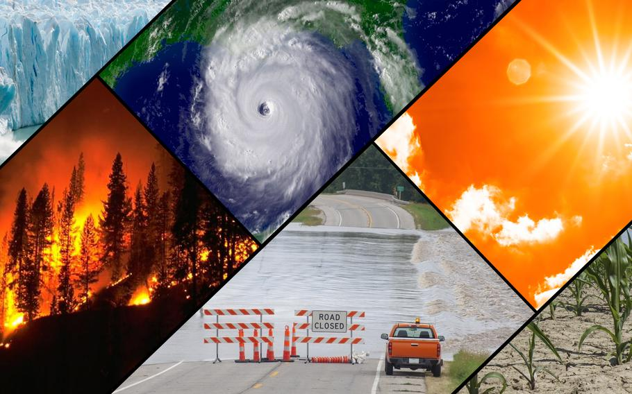 A collage of typical climate and weather-related events: floods, heat waves, drought, hurricanes, wildfires and loss of glacial ice.