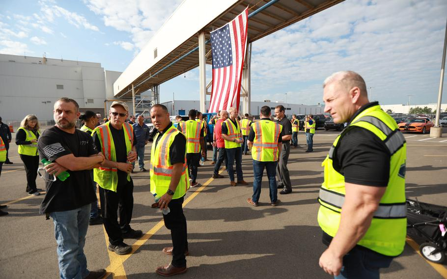Blue Angels pilots tour the Dearborn Truck plant assembly line on Aug. 3, 2021.