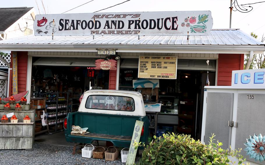 Ricky's Seafood and Produce, a popular takeout joint and roadside stand on Chincoteague Island.