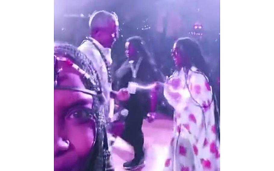 A screen grab of a video posted by Erykah Badu shows former President Barack Obama dancing at his 60th birthday party in Martha's Vineyard.