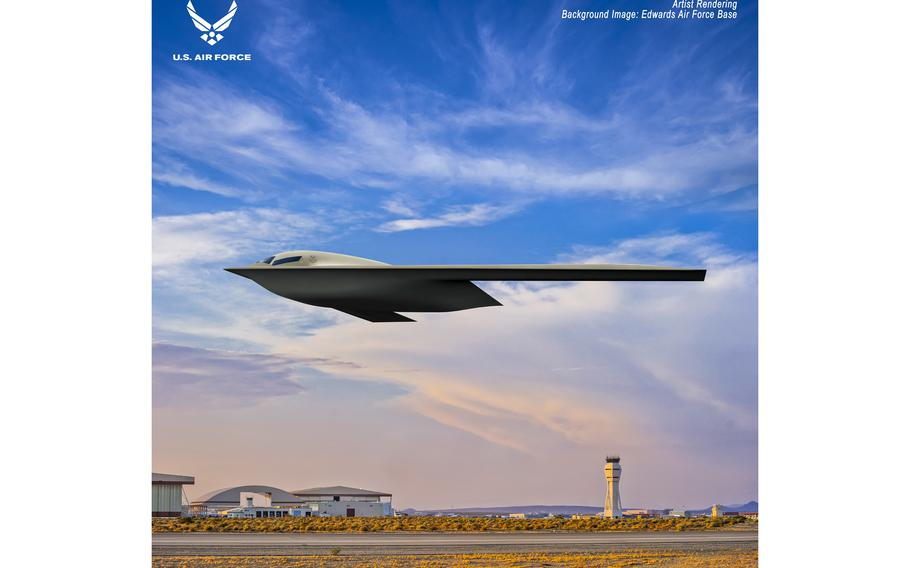 Shown is a B-21 Raider artist rendering graphic. The rendering highlights the future stealth bomber with Edwards Air Force Base, Calif., as the backdrop. Designed to perform long range conventional and nuclear missions and to operate in tomorrow's high end threat environment, the B-21 will be a visible and flexible component of the nuclear triad.