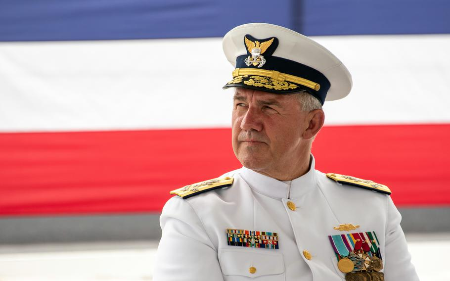 Coast Guard commandant Adm. Karl Schultz presides over the rare commissioning of three fast-attack cutters during a ceremony on Guam, Thursday, July 29, 2021.