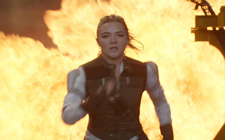 """Florence Pugh joins the world of Marvel, costarring alongside Scarlett Johansson's former KGB assassin Natasha Romanoff (not pictured) in """"Black Widow,"""" in theaters July 9."""