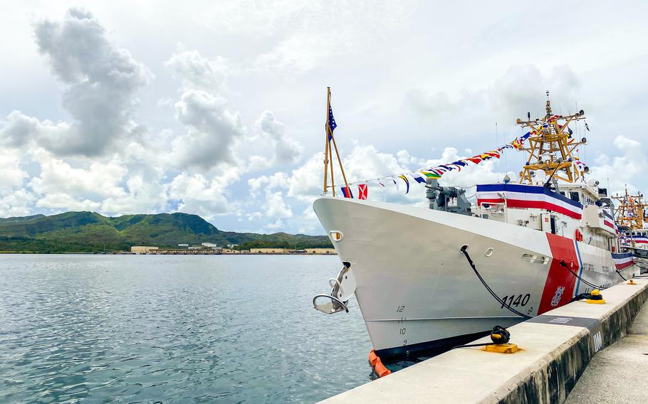 The Coast Guard fast-attack cutters Myrtle Hazard, Oliver Henry and Frederick Hatch are commissioned together during a ceremony on Guam, Thursday, July 29, 2021.