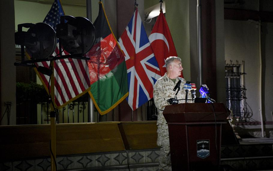 Marine Gen. Frank McKenzie, commander of U.S. Central Command and head of Afghan troops in Afghanistan, speaks to reporters at the former Resolute Support headquarters in Kabul, now called U.S. Embassy South, on July 25, 2021. The U.S. has accelerated an airstrike campaign against the Taliban, but it's unclear whether strikes will continue past Aug. 31, when U.S. forces are set to formally withdraw.