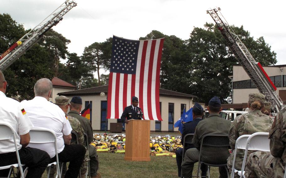 Maj. Gen. Randall Reed, commander of the Third Air Force, speaks at a memorial ceremony Sept. 10, 2021, at Ramstein Air Base, Germany, on the eve of the 20th anniversary of the 9/11 attacks.