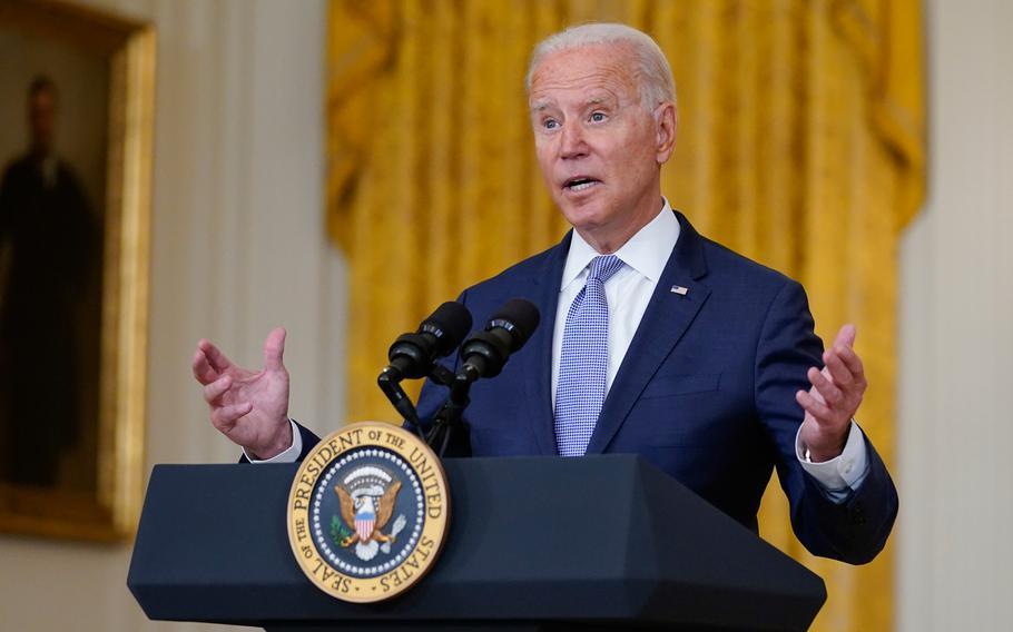 "President Joe Biden speaks about prescription drug prices and his ""Build Back Better"" agenda from the East Room of the White House, on Thursday, Aug. 12, 2021."