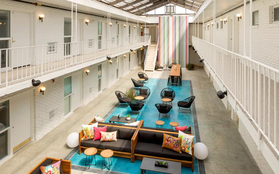 The communal space at Spa City Motor Lodge in Saratoga Springs, N.Y.