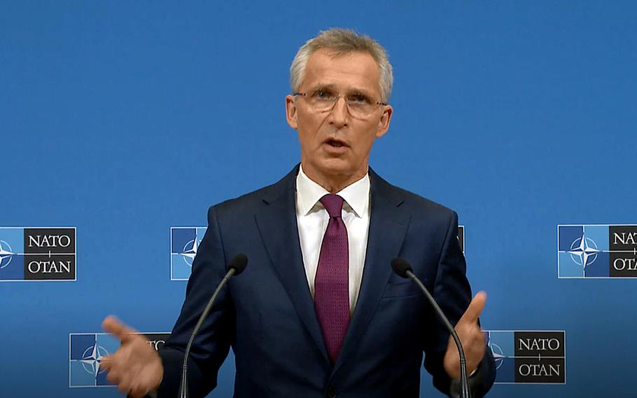 In this video screenshot, Secretary-General Jens Stoltenberg previews next week's NATO summit during a press conference in Brussels, June 11, 2021.