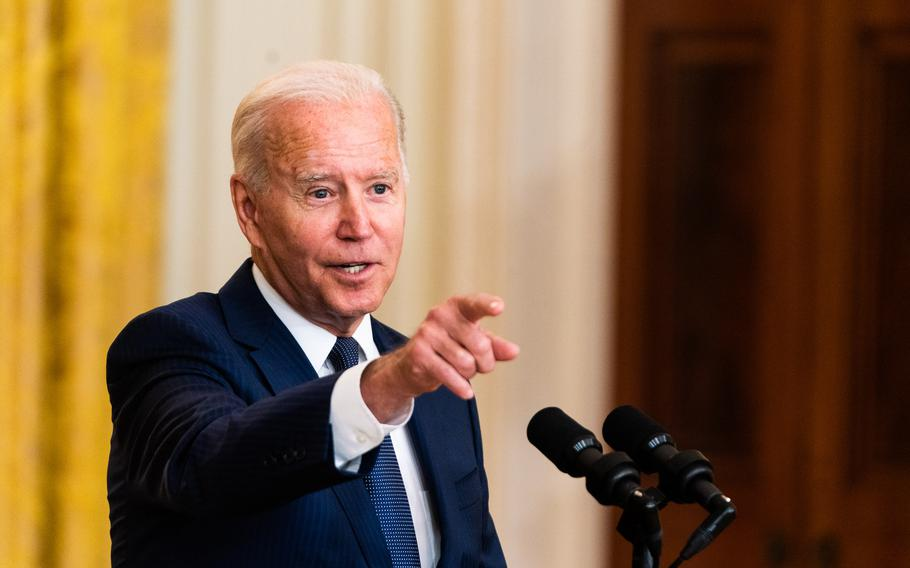 President Biden calls on a reporter after delivering remarks regarding the U.S. service members killed in a terrorist attack outside Kabul's international airport on Aug. 26, 2021.