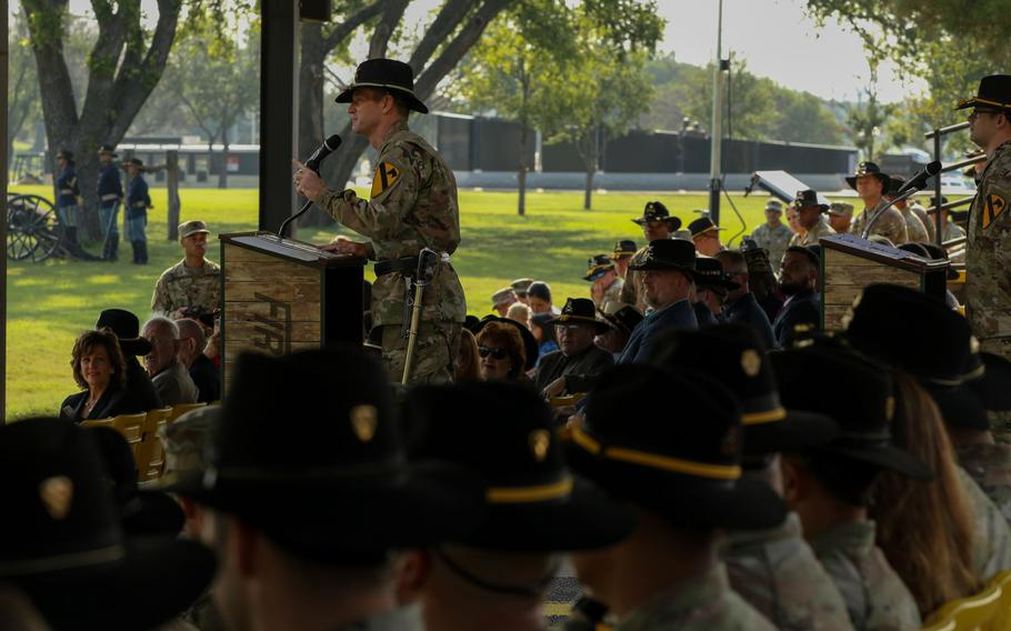 The new commander of the 1st Cavalry Division, Maj. Gen. John Richardson, addressed troops, family and friends for the first time Wednesday during an assumption of command ceremony at Fort Hood, Texas.