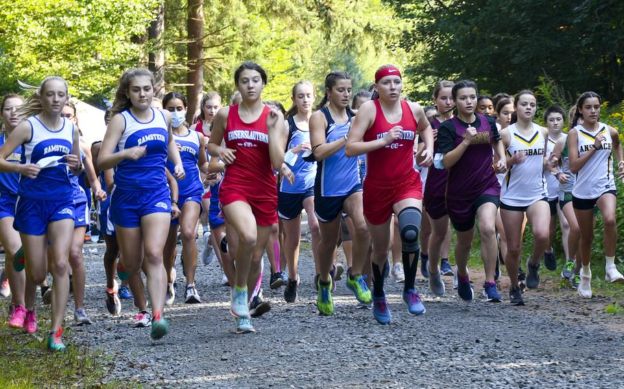 Runners take off at the beginning of a high school girls cross country race Sept. 18, 2021, in Kaiserslautern, Germany. It is a bye week for DODEA-Europe sports, before the teams return to action heading towards the championships at the end of October.
