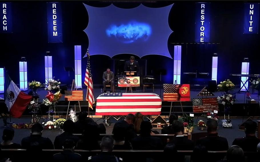 The funeral ceremony for Marine CorpsCpl.Humberto Sanchez atLife Gate Church in Logansport, Ind., is shown in this video capture taken on Tuesday, Sept. 14, 2021.
