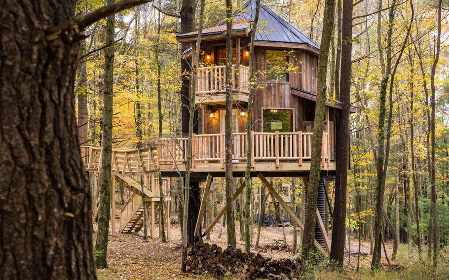 This undated photo provided by The Mohicans Treehouse Resort and Wedding Venue shows one of the nine treehouses at The Mohicans Treehouse Resort and Wedding Venue in Glenmont, Ohio.