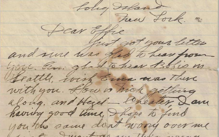 The first page of a letter written by Charles McAllister to his sister Effie dated Dec. 3, 1917, sent before he shipped out from New York for France, where he died in July 1918 during the Second Battle of the Marne.