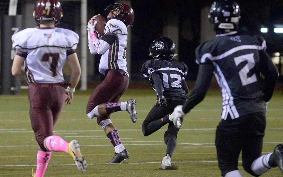 Matthew C. Perry receiver Shion Fleming hauls in his fourth TD catch.