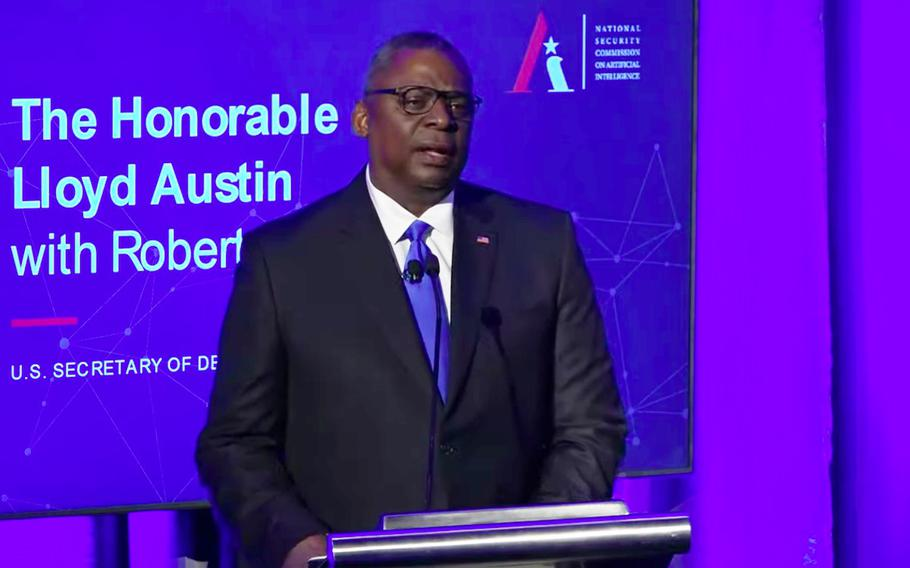 Defense Secretary Lloyd Austin addresses the National Security Commission on Artificial Intelligence at its summit on global emerging technology on July 13, 2021, in Washington, D.C.