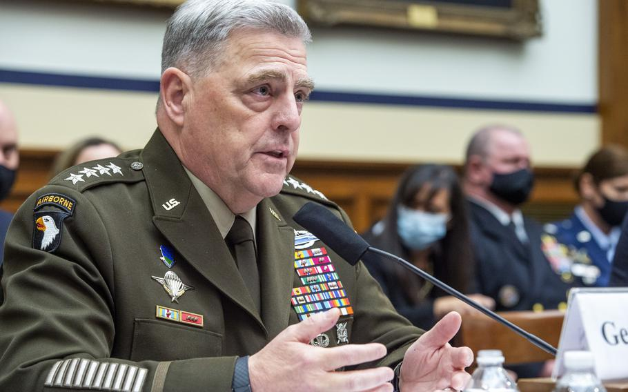 Army Gen. Mark Milley, chairman of the Joint Chiefs of Staff, testifies before the House Armed Services Committee on the conclusion of military operations in Afghanistan and plans for future counterterrorism operations on Wednesday, Sept. 29, 2021, on Capitol Hill in Washington.