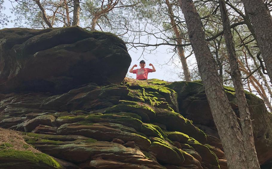 Many of the towering rock formations on the Dimbacher Buntsandstein high path near Dimbach, Germany, can be scaled by kids.