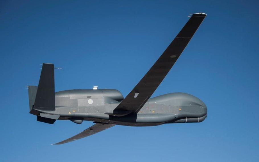 An RQ-4B Global Hawk lifts off for the first time from Palmdale, Calif., April 15, 2021. It is the first of three that will be operated by the Japan Air Self-Defense Force.