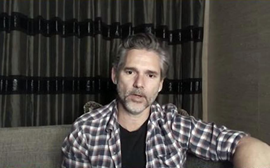 """Actor Eric Bana talks to troops about his many film roles, including """"The Hulk"""" and """"Black Hawk Down,"""" during an online session organized by the USO, Wednesday, Oct. 13, 2021."""