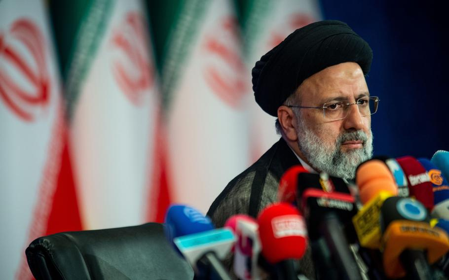 Ebrahim Raisi, Iran's president, holds his first news conference following his victory in the presidential election in Tehran, Iran, on June 21, 2021.