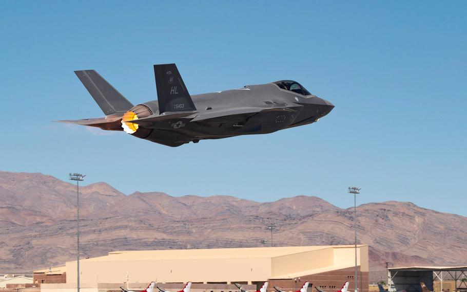 An F-35A Lightning II takes off to complete the final test exercise of the nuclear design certification process at Nellis Air Force Base, Nev., Sept. 21, 2021.