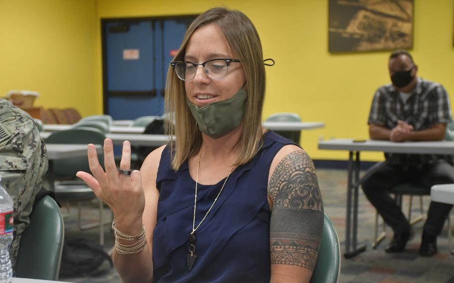 Rachel Markwald, a sleep and human performance research physiologist for the Naval Health Research Center in San Diego, on Tuesday, Aug. 17, 2021, wears a smart ring used to assess sailor fatigue.
