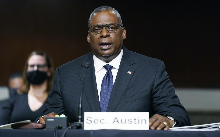 Defense Secretary Lloyd Austin speaks during a Senate Armed Services Committee hearing on the conclusion of military operations in Afghanistan and plans for future counterterrorism operations, Tuesday, Sept. 28, 2021, on Capitol Hill in Washington.