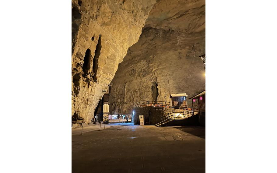 Near the entrance to the older section of Tenglong Cave in China's Hubei province. The system has around 37 miles of passages, which were only fully explored during a joint Chinese-Belgian expedition in the late 1980s.
