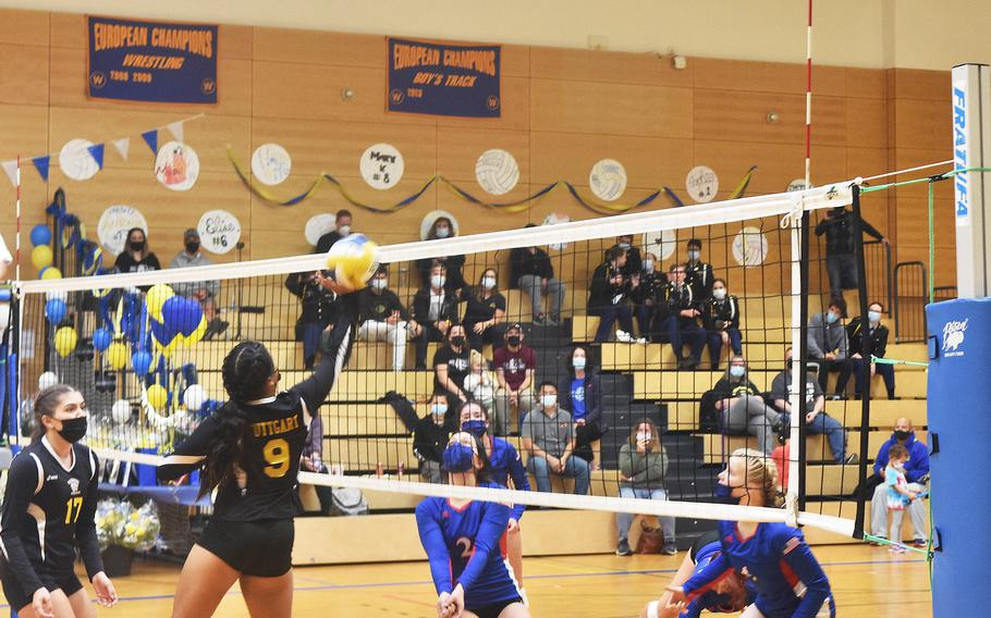 Stuttgart's Ayana Gomez taps the ball over the net during the Stuttgart-Ramstein volleyball game played in Wiesbaden on Saturday, Oct. 9, 2021.