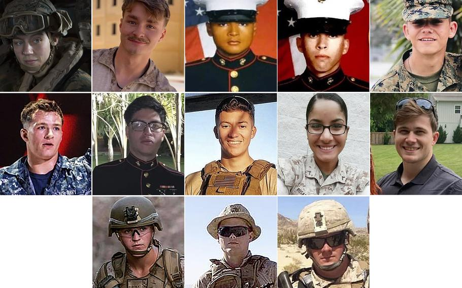 Eleven Marines, one sailor and one soldier were among the dead in a suicide bombing at Afghanistan's Kabul airport Thursday, which also claimed the lives of more than 100 Afghans. Top row, from left: Sgt. Nicole L. Gee, Cpl. Daegan W. Page, Lance Cpl. David L. Espinoza, Lance Cpl. Dylan R. Merola and Lance Cpl. Kareem M. Nikoui. Center row, from left: Seaman Maxton W. Soviak, Cpl. Humberto A. Sanchez, Cpl. Hunter Lopez, Sgt. Johanny Rosariopichardo and Staff Sgt. Ryan C. Knauss. Bottom row, from left: Lance Cpl. Rylee J. McCollum, Lance Cpl. Jared M. Schmitz and Staff Sgt. Darin T. Hoover.