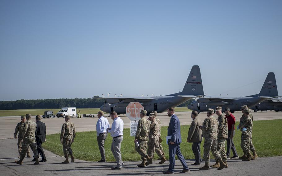 A site survey team visits the 179th Airlift Wing, Mansfield, Ohio, as part of the Air Force site selection process for a possible Cyber Warfare Wing, Aug. 3, 2021. The Department of the Air Force recently announced it has identified Ohio's Mansfield-Lahm Air National Guard Base as the preferred location for a new Cyber Warfare Wing mission.