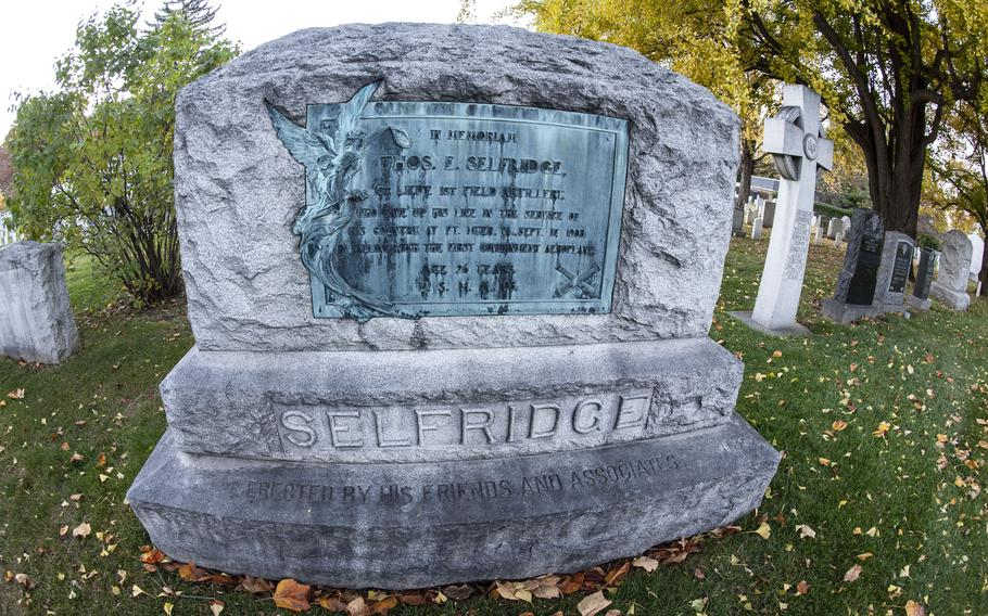 The grave of Lt. Thomas Selfridge, the first person to be killed in an airplane accident, at the U.S. Military Academy's cemetery in West Point, N.Y.
